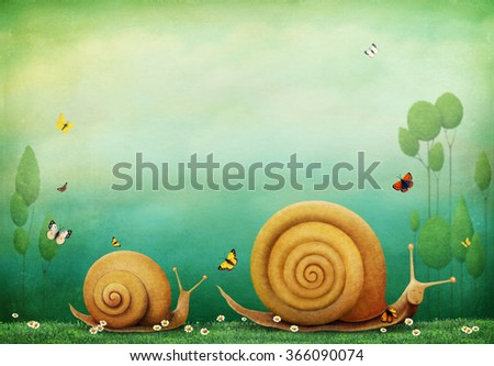 Pastel textured background with flowers and snails.  - stock photo