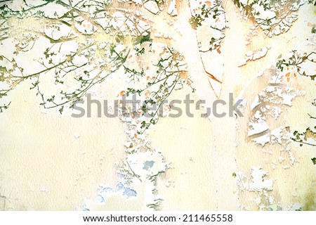 Pastel watercolor tree and branch illustration - stock photo