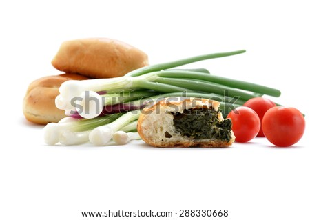 Pasties - Selection of traditional  pasties -  steak and gravy bake, cheese and onion pasty. - stock photo