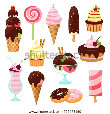 Pastries  cakes and ice cream icon set with an ice cream cone and lolly  cupcake  cake  cookies  donuts  milkshake  dessert and lollipop with icing  chocolate and cherries  on white