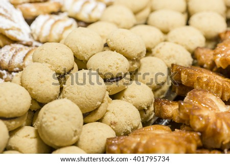 pastries of flour with chocolate topping - stock photo