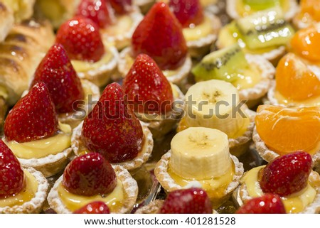 pastries with fresh fruits and cream - stock photo