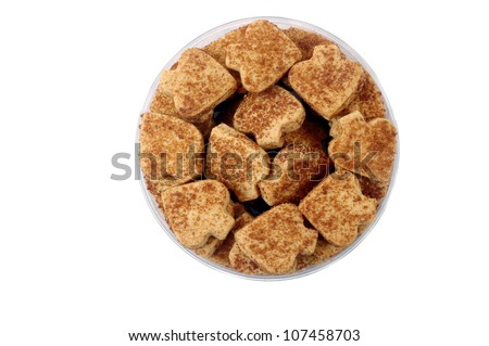 pastries with red sugar sprinkles isolated on white background