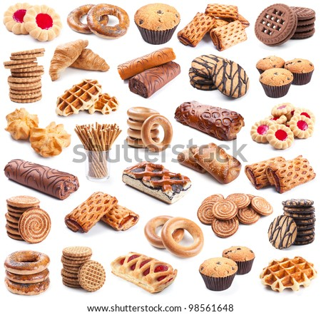Pastry collection isolated on white background