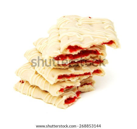 Pastry crisps with strawberry on a white background - stock photo