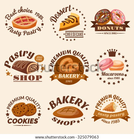 Pastry desserts emblems set with donuts macaroons and cookies isolated  illustration