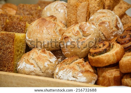pastry in a wood tray - stock photo