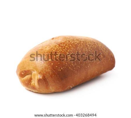 Pastry pocket with sausage isolated over the white background - stock photo