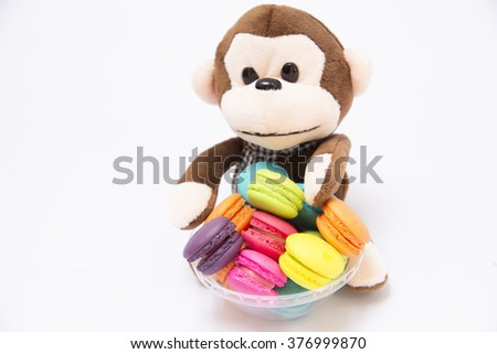 Pastry stuffed monkey with blurred background for display or editing products.