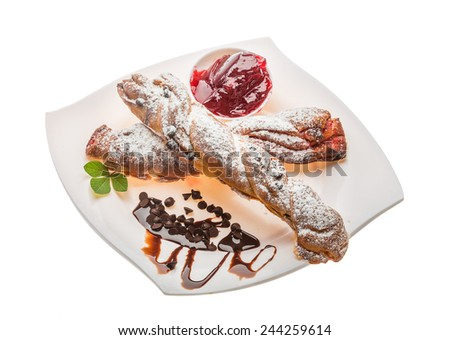 Pastry with jam and chocolate - stock photo
