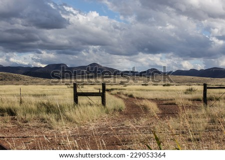 Pasture gateway, road tracks and dry grassland with hills on cloudy day in Autumn/Hills and Grassland with Pasture Entrance and Dirt Road on Cloudy Blue Sky Autumn Day/Ranch gate and Fall landscape - stock photo