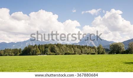 Pasture in the Allgaeu (Bavaria, Germany) - stock photo