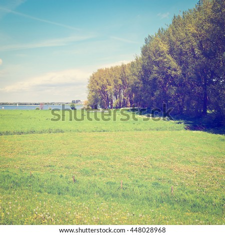 Pasture on the Banks of the Rhine in Holland, Retro Effect - stock photo