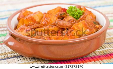 Patatas a la Riojana - Potato, chorizo and peppers stew. - stock photo