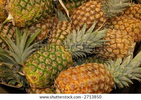 patch of pineapples collage background - stock photo