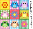 Patchwork background with owls.Raster version - stock photo