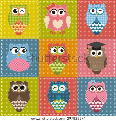 Patchwork background with owls. Raster version - stock photo