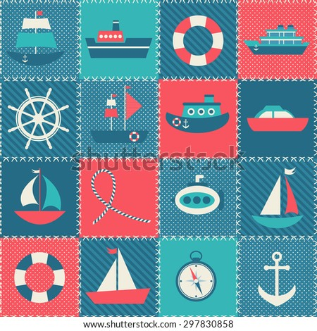 Patchwork background with sea transport. Raster version - stock photo