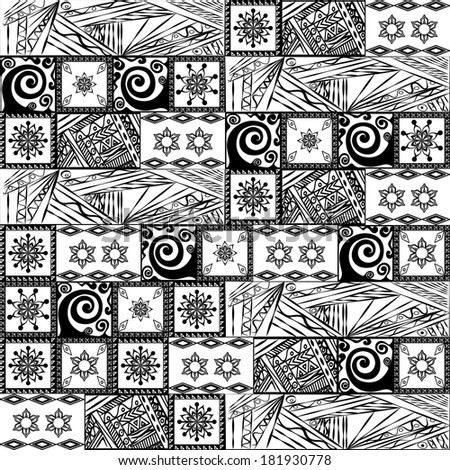 Patchwork black and white pattern.Raster. - stock photo