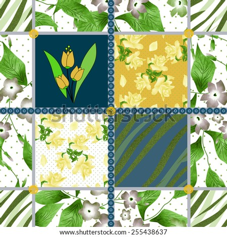 Patchwork design seamless floral pattern background