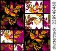 Patchwork retro bright autumn floral pattern texture background - stock photo