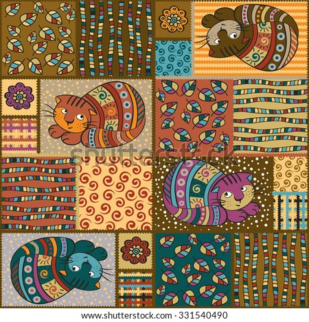patchwork. Seamless raster pattern with stylized cats. - stock photo