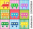 Patchwork with colorful train. Raster version - stock photo