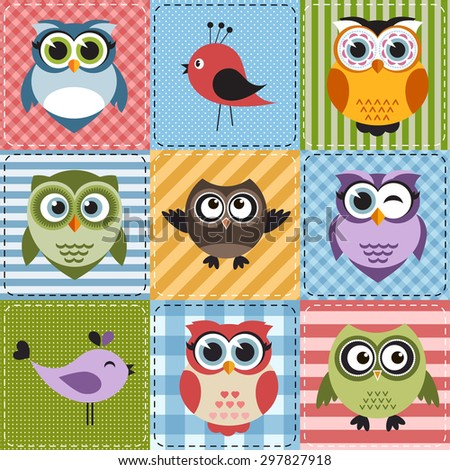 Patchwork with owls and birds. Raster version - stock photo