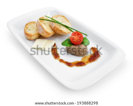 Pate from duck liver with French toasts and onion jam on the plate isolated on white background - stock photo