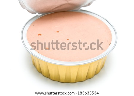 Pate in a open aluminum can on white - stock photo