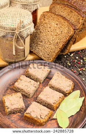 pate on bread food still life snacks
