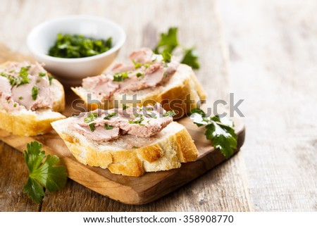 Pate with fresh baguette - stock photo