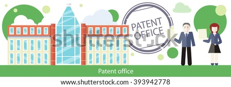 Patent office concept in flat design. Attorneys patent agents man and woman holding certificates of invention. Patent idea protection. Copyright and law, patenting copyright, intellectual property - stock photo