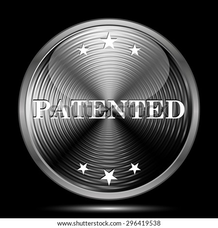 Patented icon. Internet button on black background.  - stock photo