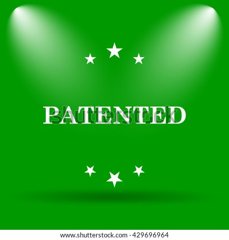 Patented icon. Internet button on green background.
