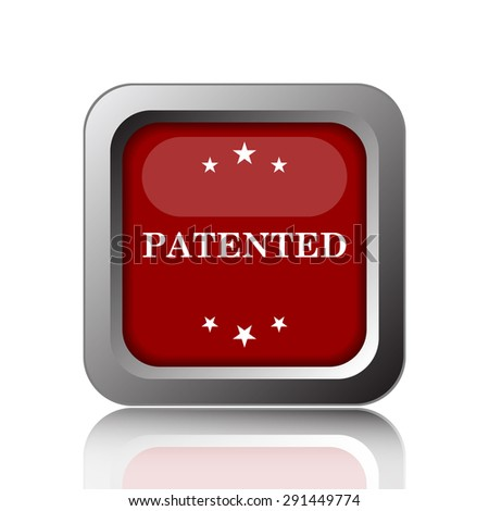 Patented icon. Internet button on white background  - stock photo