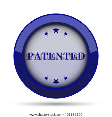 Patented icon. Internet button on white background. - stock photo