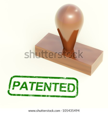 Patented Stamp Showing Trademark Patent Or Registered - stock photo