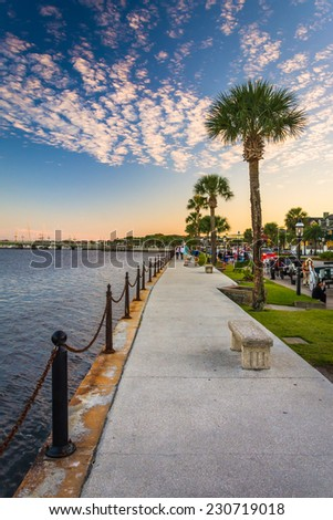 Path along the Matanzas River in St. Augustine, Florida. - stock photo