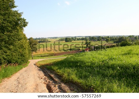 path and traditional summer landscape in Lithuania - stock photo