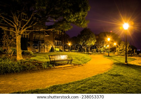 Path at night in a park in Alexandria, Virginia. - stock photo