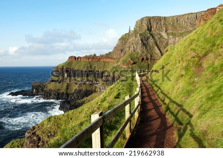 Path at the Giants Causeway, Ireland - stock photo