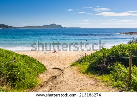 Path down to Number One Beach, Myall Lakes National Park, New south Wales, Australia - stock photo