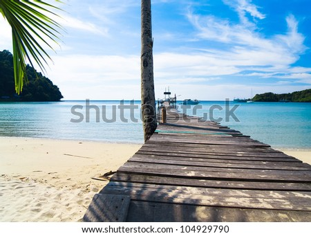 Path filled with Love Contemplating the Sea - stock photo