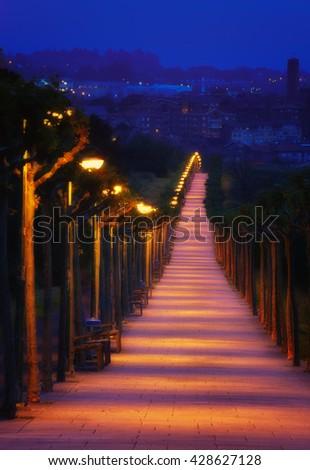 path illuminated with lampposts at night in La Galea - stock photo