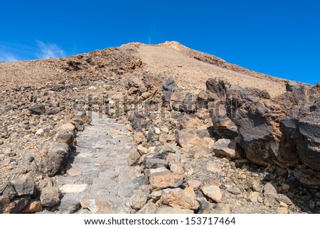 Path in lava field on top of Teide volcano. Tenerife, Canary Islands, Spain