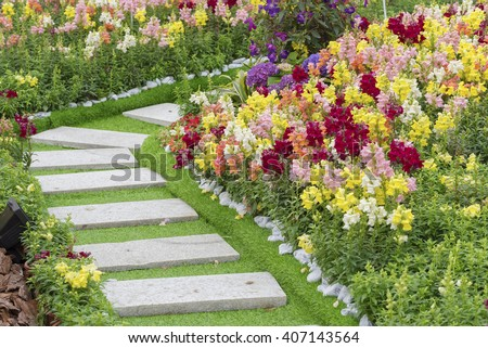 Path in Ornate Flower Garden - stock photo