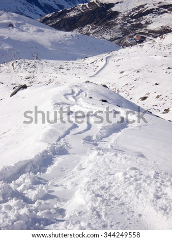 Path in snow at mountain in winter