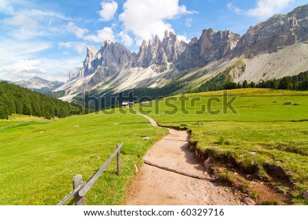 path in the dolomites alps - stock photo