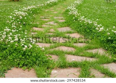 path in the garden - stock photo